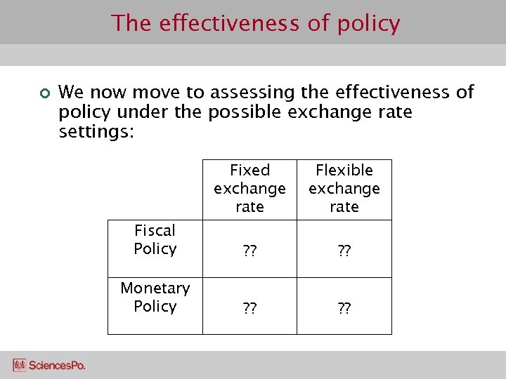 The effectiveness of policy ¢ We now move to assessing the effectiveness of policy