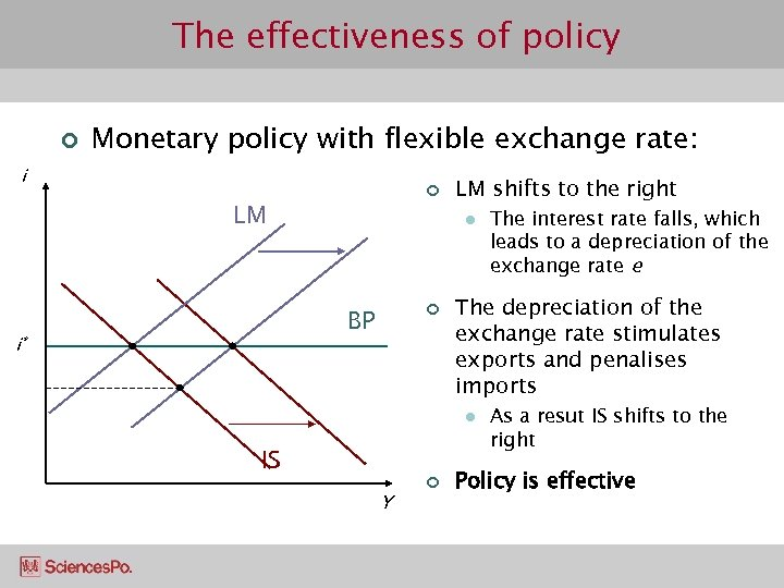 The effectiveness of policy ¢ Monetary policy with flexible exchange rate: i ¢ LM