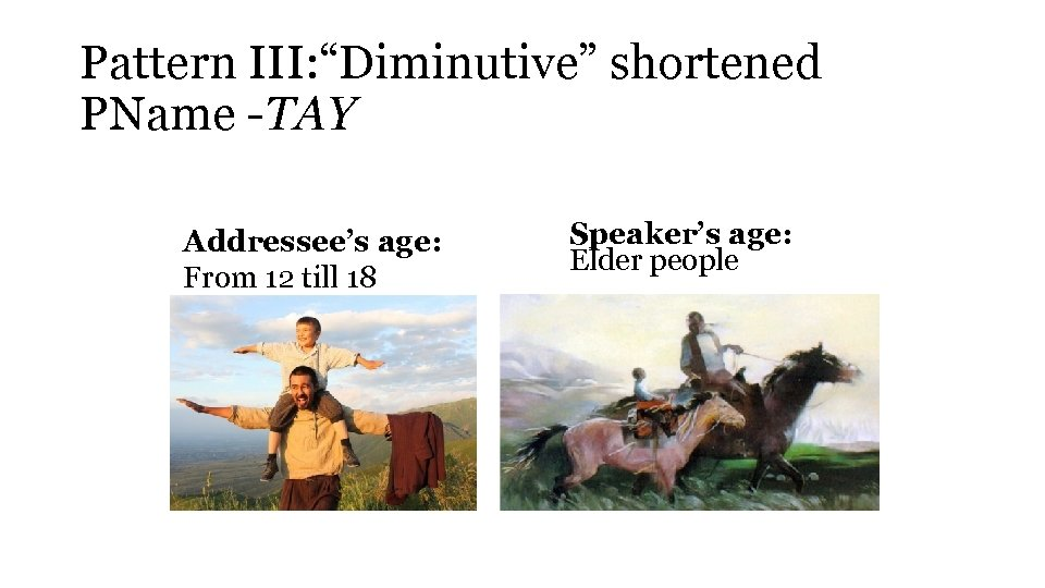 "Pattern III: ""Diminutive"" shortened PName -TAY Addressee's age: From 12 till 18 Speaker's age:"