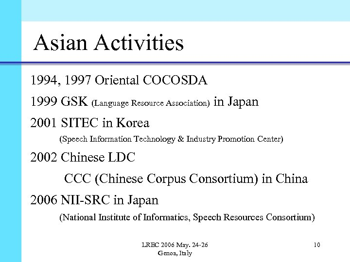 Asian Activities 1994, 1997 Oriental COCOSDA 1999 GSK (Language Resource Association) in Japan 2001