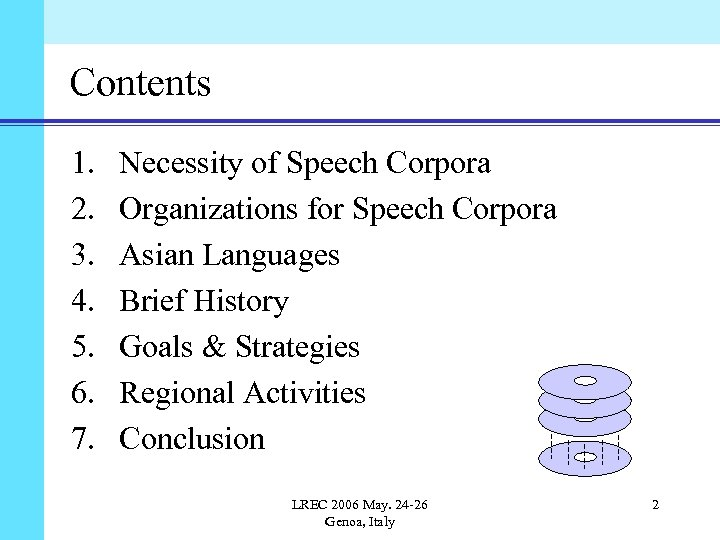 Contents 1. 2. 3. 4. 5. 6. 7. Necessity of Speech Corpora Organizations for