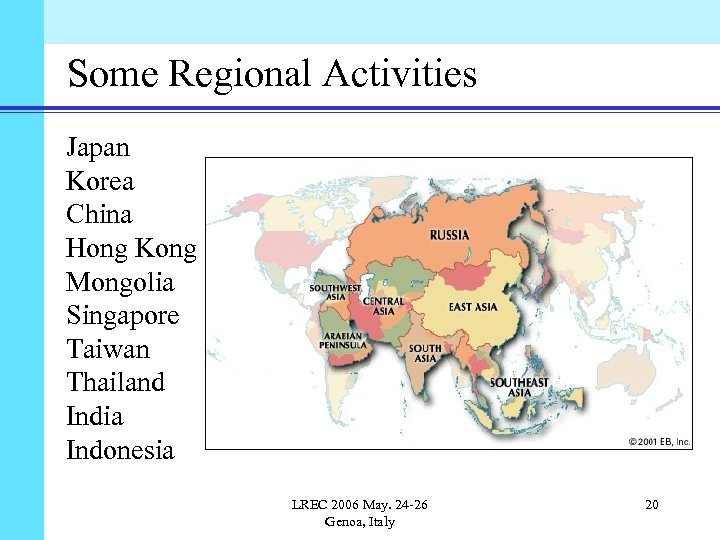 Some Regional Activities Japan Korea China Hong Kong Mongolia Singapore Taiwan Thailand India Indonesia
