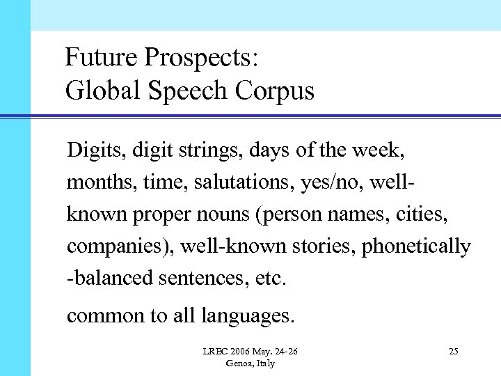 Future Prospects: Global Speech Corpus Digits, digit strings, days of the week, months, time,