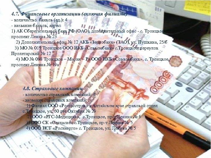 4. 7. Финансовые организации (включая филиалы) - количество банков (ед. ): 4 - название