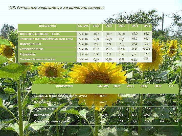 2. 3. Основные показатели по растениеводству Таблица 3 Показатели Ед. изм. 2010 2011 2012