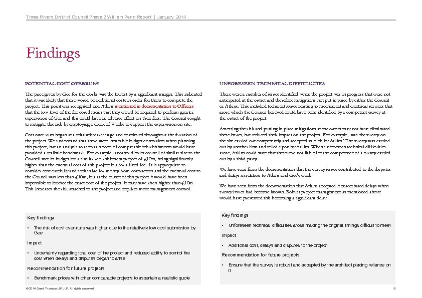 Three Rivers District Council Phase 2 William Penn Report   January 2014 Findings POTENTIAL