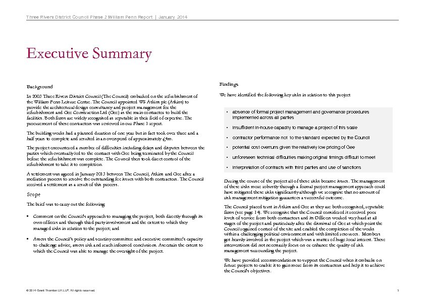 Three Rivers District Council Phase 2 William Penn Report   January 2014 Executive Summary