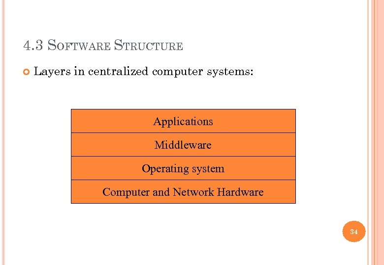 4. 3 SOFTWARE STRUCTURE Layers in centralized computer systems: Applications Middleware Operating system Computer