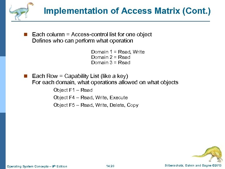 Implementation of Access Matrix (Cont. ) n Each column = Access-control list for one