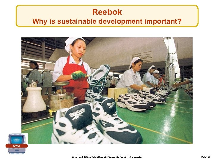 Reebok Why is sustainable development important? Copyright © 2007 by The Mc. Graw-Hill Companies,