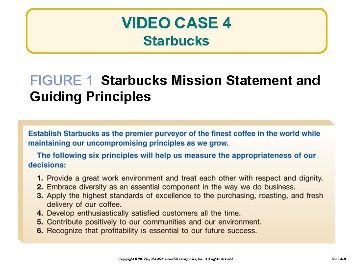 VIDEO CASE 4 Starbucks FIGURE 1 Starbucks Mission Statement and Guiding Principles Copyright ©