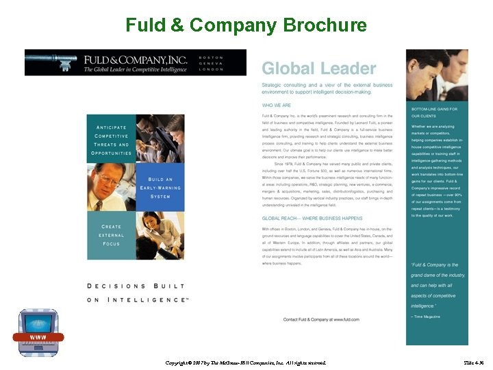 Fuld & Company Brochure Copyright © 2007 by The Mc. Graw-Hill Companies, Inc. All