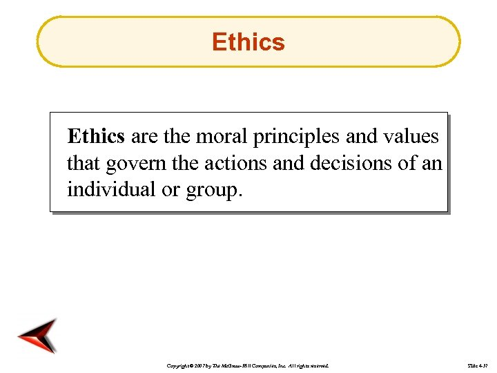 Ethics are the moral principles and values that govern the actions and decisions of