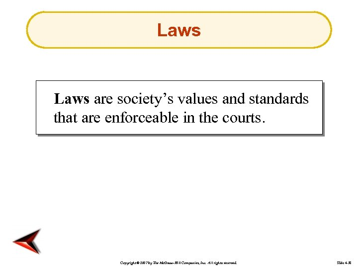 Laws are society's values and standards that are enforceable in the courts. Copyright ©