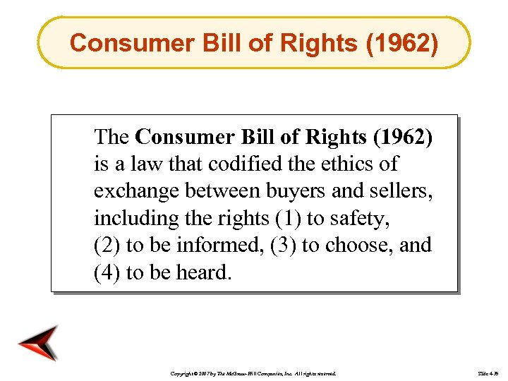Consumer Bill of Rights (1962) The Consumer Bill of Rights (1962) is a law