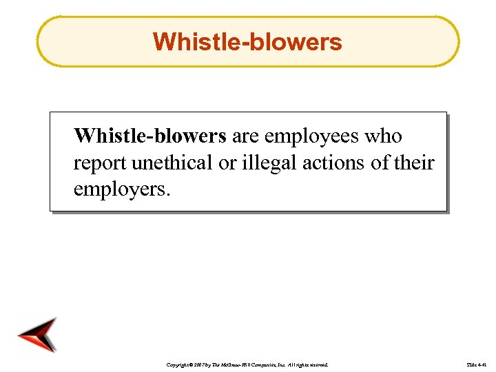 Whistle-blowers are employees who report unethical or illegal actions of their employers. Copyright ©