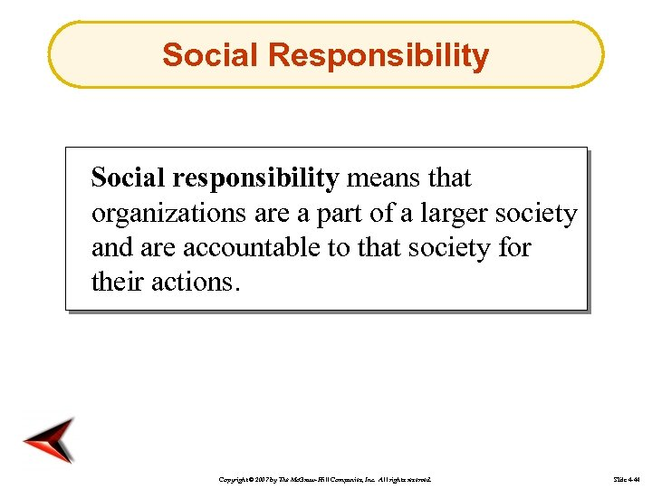 Social Responsibility Social responsibility means that organizations are a part of a larger society