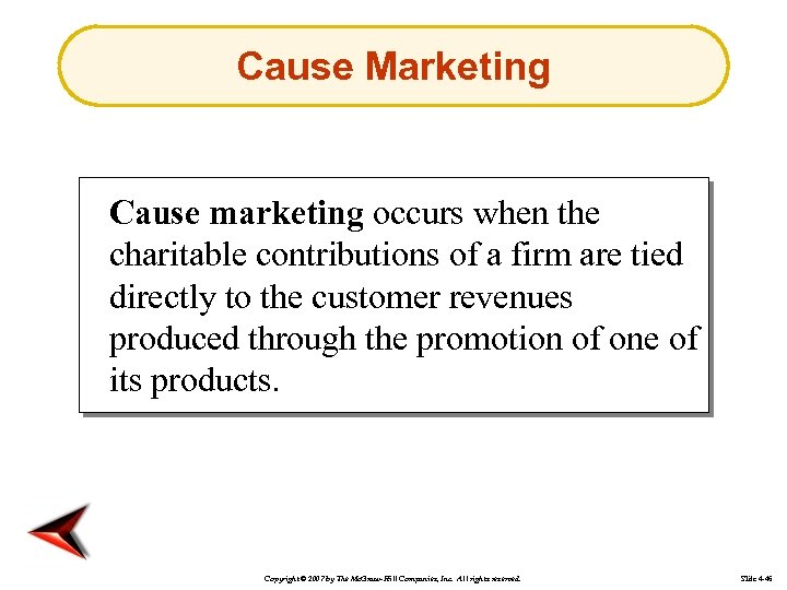 Cause Marketing Cause marketing occurs when the charitable contributions of a firm are tied