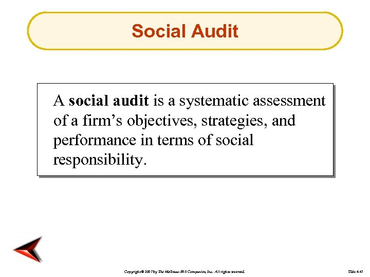 Social Audit A social audit is a systematic assessment of a firm's objectives, strategies,