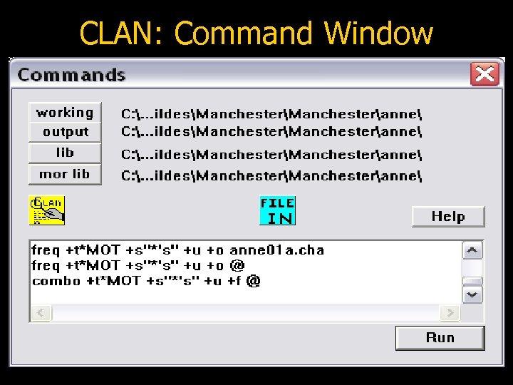 CLAN: Command Window