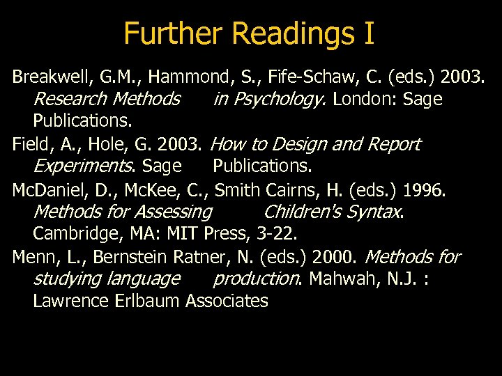 Further Readings I Breakwell, G. M. , Hammond, S. , Fife-Schaw, C. (eds. )