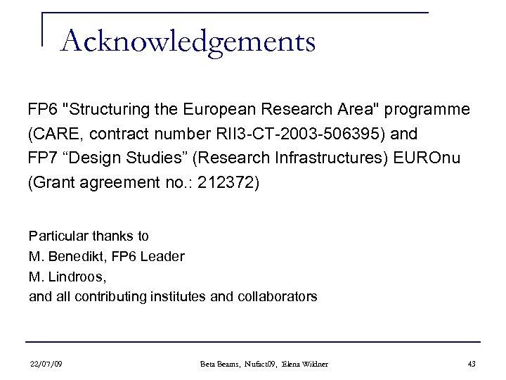 Acknowledgements FP 6