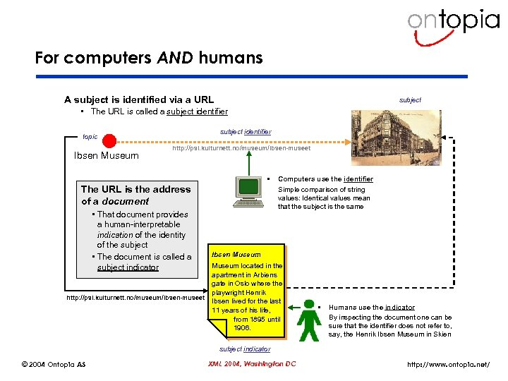 For computers AND humans A subject is identified via a URL subject • The