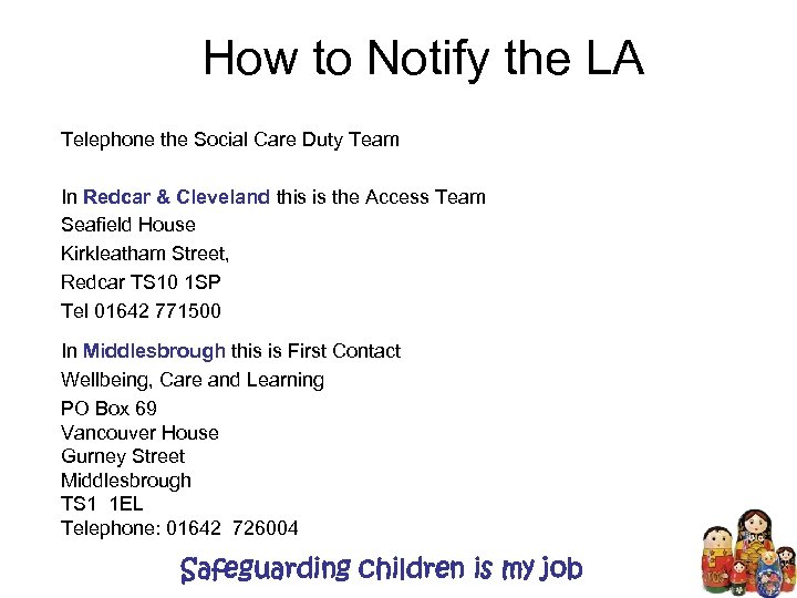 How to Notify the LA Telephone the Social Care Duty Team In Redcar &