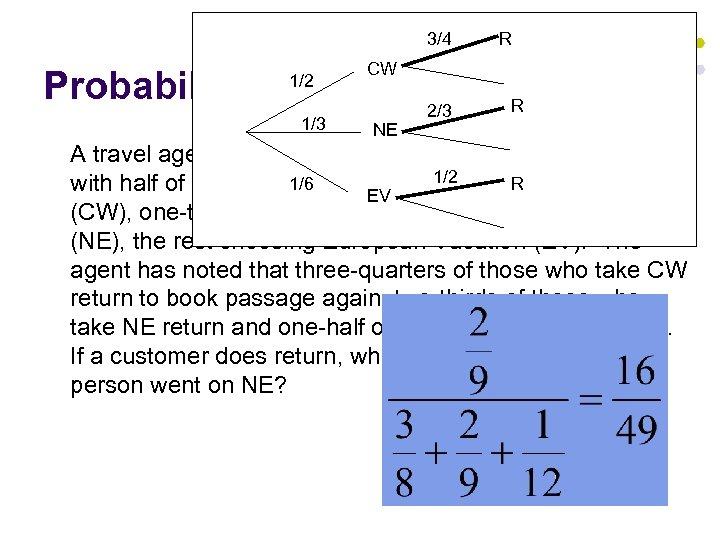 3/4 CW Probability WARM UP 2/3 1/2 1/3 R R NE A travel agent