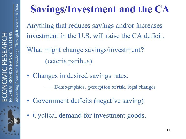 Savings/Investment and the CA Anything that reduces savings and/or increases investment in the U.
