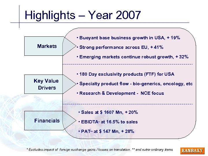 Highlights – Year 2007 • Buoyant base business growth in USA, + 19% Markets