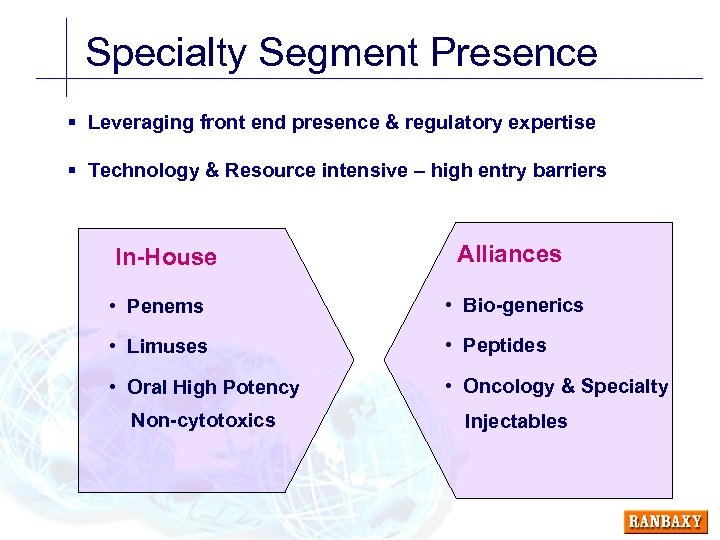 Specialty Segment Presence § Leveraging front end presence & regulatory expertise § Technology &