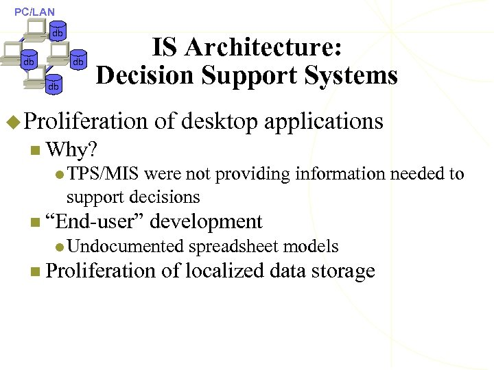 PC/LAN db db IS Architecture: Decision Support Systems u Proliferation of desktop applications n
