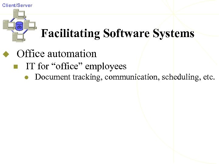 """Client/Server db u Facilitating Software Systems Office automation n IT for """"office"""" employees l"""