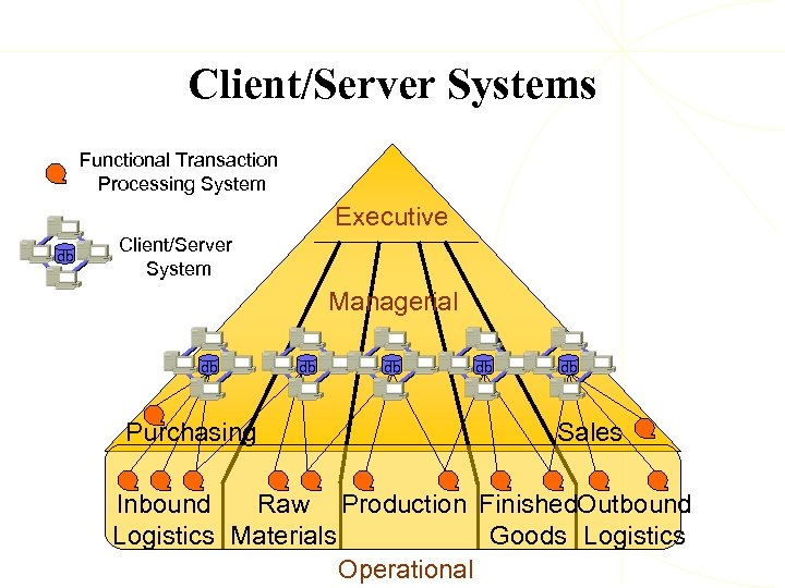 Client/Server Systems Functional Transaction Processing System Executive db Client/Server System Managerial db Purchasing db