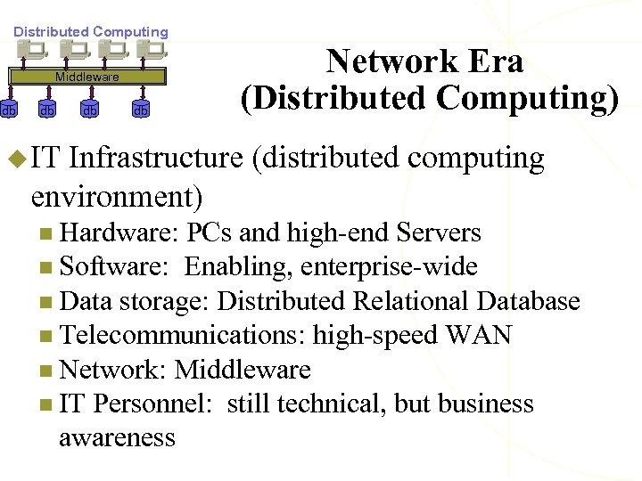 Distributed Computing Middleware db db Network Era (Distributed Computing) u IT Infrastructure (distributed computing