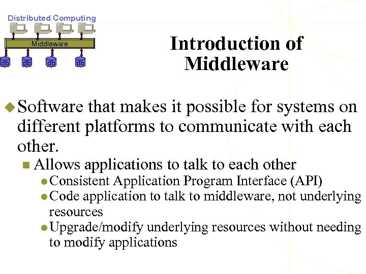 Distributed Computing Introduction of Middleware db db u Software that makes it possible for