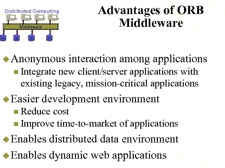 Distributed Computing Middleware db db db Advantages of ORB Middleware db u Anonymous interaction
