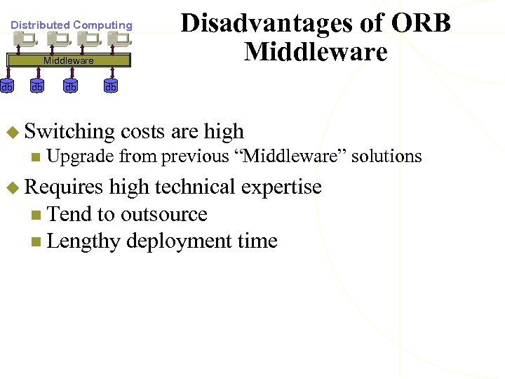 Distributed Computing Middleware db db u Switching n Disadvantages of ORB Middleware costs are