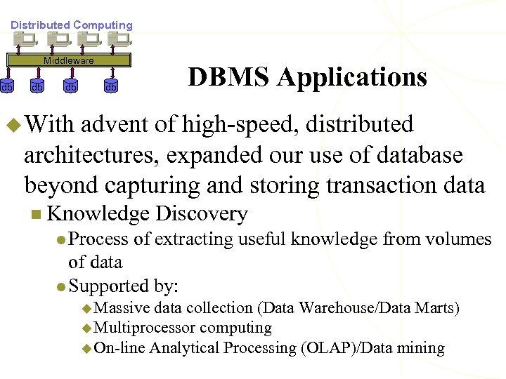Distributed Computing Middleware db db db DBMS Applications db u With advent of high-speed,