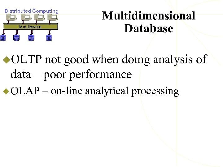 Distributed Computing Middleware db db db Multidimensional Database db u. OLTP not good when