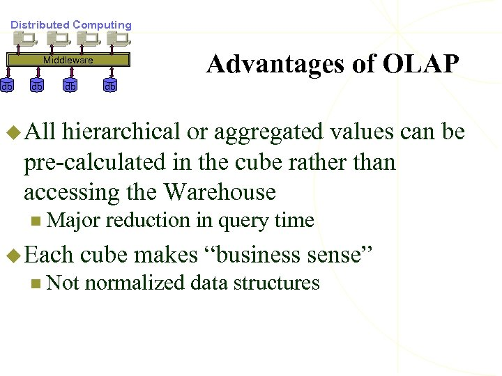 Distributed Computing Advantages of OLAP Middleware db db u All hierarchical or aggregated values