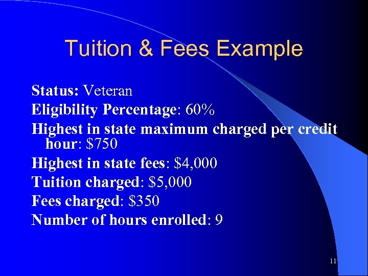Tuition & Fees Example Status: Veteran Eligibility Percentage: 60% Highest in state maximum charged