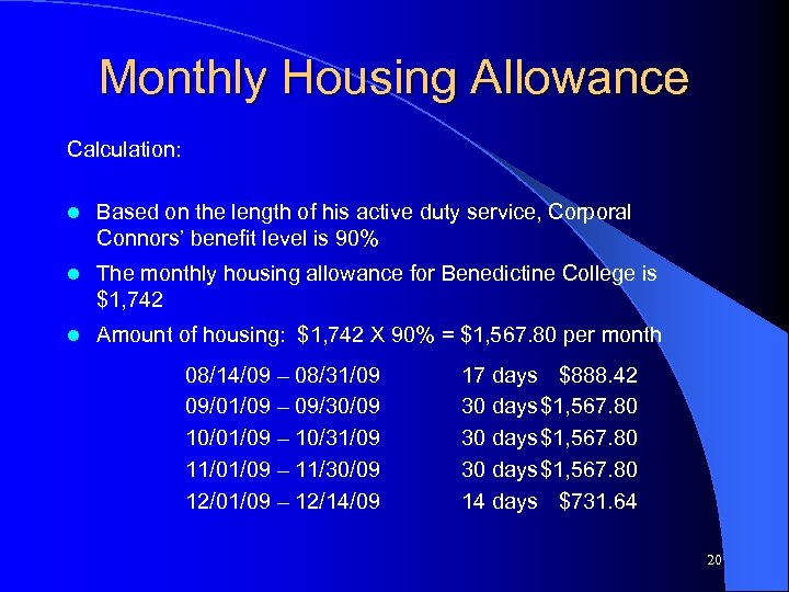 Monthly Housing Allowance Calculation: l Based on the length of his active duty service,