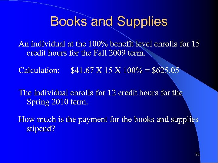 Books and Supplies An individual at the 100% benefit level enrolls for 15 credit