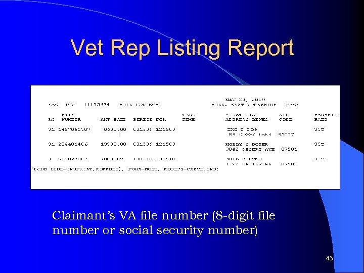 Vet Rep Listing Report Claimant's VA file number (8 -digit file number or social