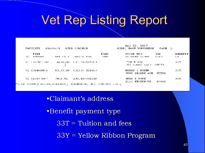 Vet Rep Listing Report • Claimant's address • Benefit payment type 33 T =