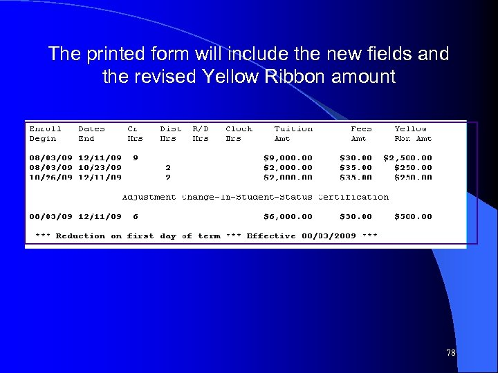 The printed form will include the new fields and the revised Yellow Ribbon amount