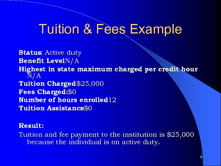 Tuition & Fees Example Status: Active duty Benefit Level. N/A : Highest in state