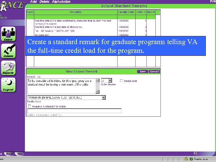 Create a standard remark for graduate programs telling VA the full-time credit load for
